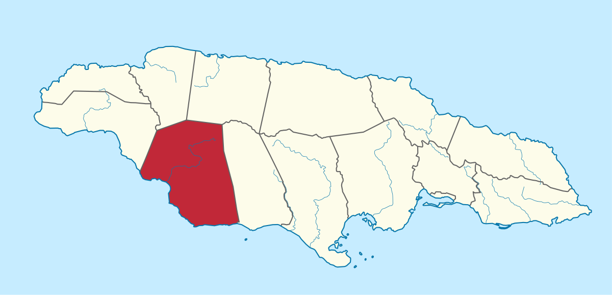 Map showing St Elizabeth Jamaica