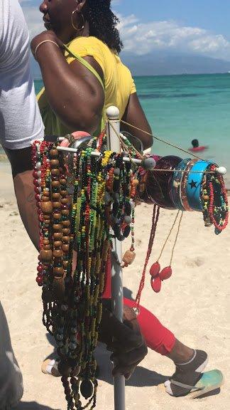 Handmade jewelry on sale at Hellshire Beach